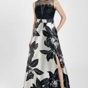 Elegante Vestido de Madrina Largo en blanco y negro con encaje en la parte superior Si Quiero Bilbao